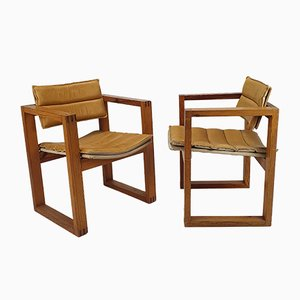 Dutch Leather and Pine Armchairs by Ate Van Apeldoorn, 1960s, Set of 2
