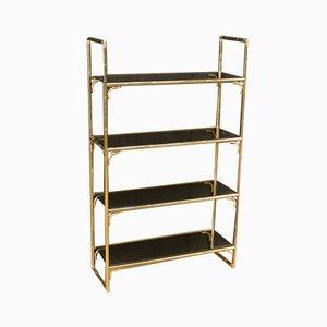 Italian Bookshelf in Gilt Metal with Glass Shelves
