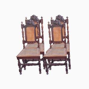 Chairs in Walnut & Vienna Straw, Set of 4