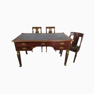 Empire Style Desk & Chairs, Set of 4