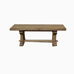 Bleached Oak Refectory or Farmhouse Dining Table with Carved Columns