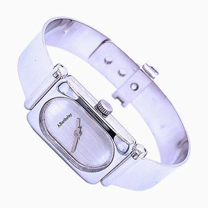 Adjustable Solid Silver Bangle Watch with Manual Winding Movement from Alexis Barthelay, 1975