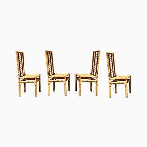 Mid-Century Modern Italian Interwoven Rattan Chairs, 1960s, Set of 4