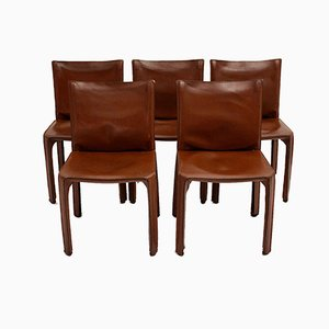 Vintage Cognac Leather CAB Chairs by Mario Bellini for Cassina, Italy, 1976, Set of 5