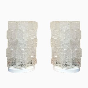 Table Lamps in Ice Glass and White Enameled Metal, Italy, 1970s, Set of 2