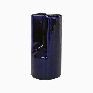Mid-Century Modern Irregular Shaped Blue Glazed Ceramic Vase, Italy, 1960s