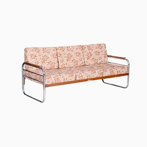 Bauhaus Fabric & Tubular Chrome Sofa by Vichr a Spol, Czechia, 1930s