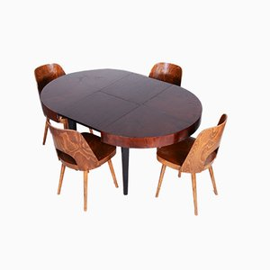 Restored Art Deco Dining Table in Beech and Oak by Jindřich Halabala for UP Závody, Czechia, 1940s