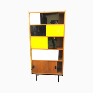 Modernist Teak Bookcase with Tricolor Glass Doors, France, 1950s