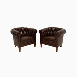 Antique Swedish Leather Chesterfield Armchairs, Set of 2
