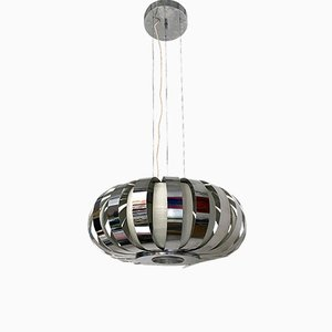 Mid-Century Modern Italian Chromed Chandelier with Steel Bands, 1970s