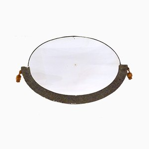 Art Deco Style Oval Mirror with Silver Half-Frame