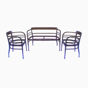 Antique Viennese Living Room Set by Otto Wagner for Thonet, Austria, Set of 3