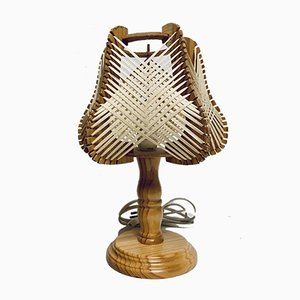 Desk Lamps in Wood and Raffia, 1970s, Set of 2