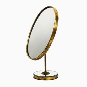 Large Mid-Century Italian Table Mirror in Brass and Velvet