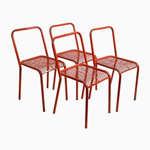 Industrial Metal Chairs in Original Red Color by Réne Malaval, 1940s, Set of 4
