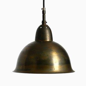 Mid-Century Patinated Brass Church Pendant Lamp