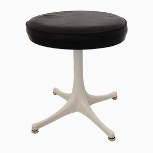 Pedestal Leather Stool by George Nelson for Herman Miller, 1950s