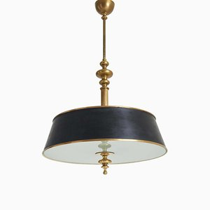 Brass and Glass Ceiling Light, 1940s