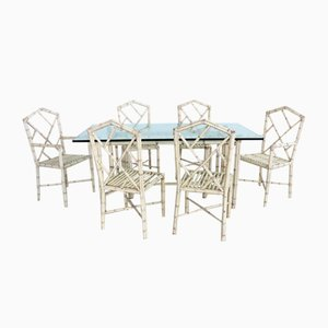 Dining Room Set of Glass-Topped Table and 6 Chairs in Bamboo, Italy, 1970s, Set of 7