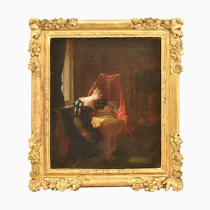 Antique Painting, Woman with Cradle, Oil on Canvas