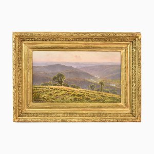 Antique Landscape Painting, Valley with River, Didier Pouget