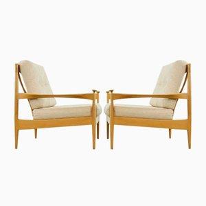 Mid-Century Scandinavian Beechwood Lounge Chairs, Set of 2