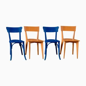 French Painted Wooden Dining Chairs, 1950s, Set of 4