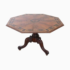 Antique Inlaid Walnut Octagonal Extendable Dining Room Table, 1850s