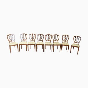 Antique Walnut Dining Chairs, Set of 8