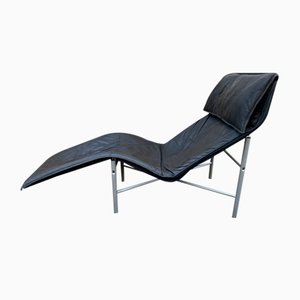 Black Leather Chaise Longue by Tord Bjorklund for Ikea, 1970s