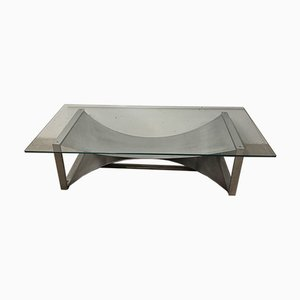 Coffee Table in Stainless Steel and Glass, 1970s