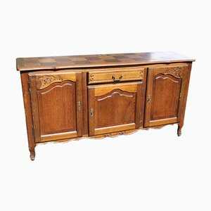French Neo Rustic Oak Sideboard with Parquet Top, 1940s