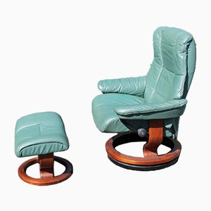 Green Leather Armchair with Leather Stool from Stressless, Set of 2