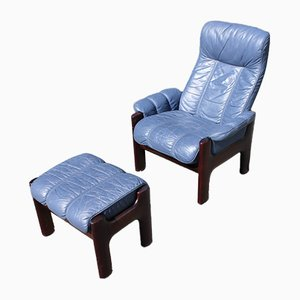 Blue Leather Armchair with Leather Stool from Stressless, Set of 2