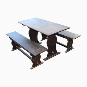 Small Oak Refectory Table With Oak Benches, 1920s, Set of 3