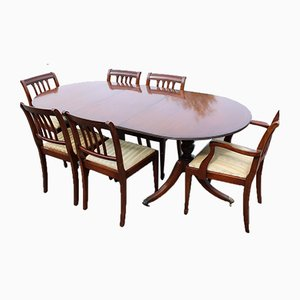 End Table With 1 Leaf and 6 Dining Chairs, 1960s, Set of 7
