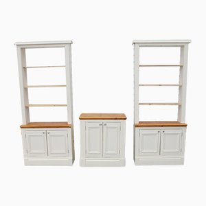 White Kitchen Cabinets with Wooden Tops and Racks, Set of 3