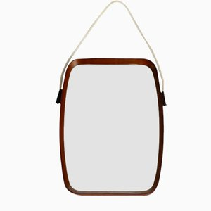 Teak Wall Mirror with Thick Nylon Rope, Italy, 1960s