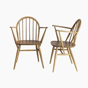 Wooden Round Back Chairs from Ercol, Set of 2