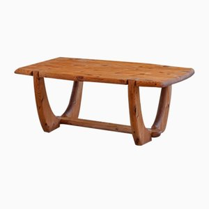 Danish Solid Pine Brutalist Coffee Table by Rainer Daumiller, 1960s