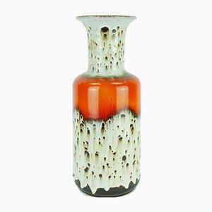 Ceramic 602 10 45 Floor Vase in Orange, White & Brown Drip Glaze from Jasba
