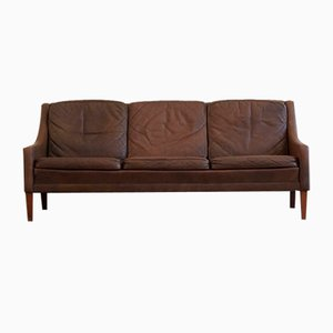 Danish Three Seater Sofa in Brown Leather and Wooden Legs by Georg Thams, 1960s
