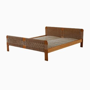 Mid-Century Scandinavian Bed in Solid Pine and Woven Paper Cord, 1960s