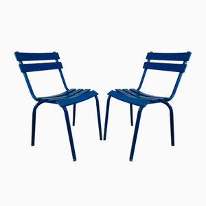 Blue Metal Dining Chairs, Set of 14