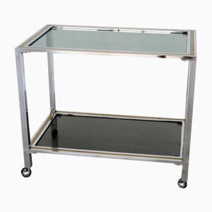 Italian Bar Cart or Trolley in Brass and Chrome, 1970s