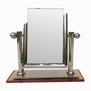 Art Deco Picture Frame in Nickel & Cognac-Colored Mirror Glass