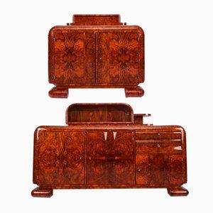 Antique Art Deco Bauhaus Sideboards with Walnut Root Veneer 1920s, Set of 2