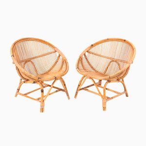 Mid-Century Bamboo Rattan Lounge Chairs, 1950s, Set of 2