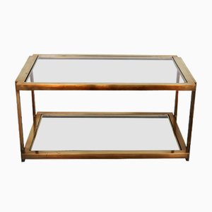 Italian Sofa Table in Brass and Glass, 1970s
